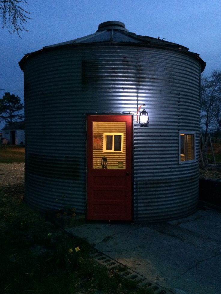 Our Grain Bin At Night We Put An Old Door On It Grain
