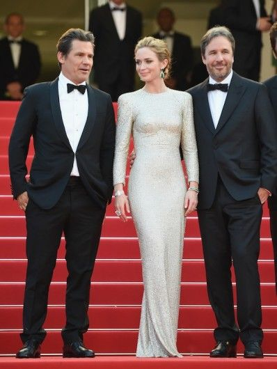 Cannes Film Festival 2015: Joasj Brolin, Emily Blunt in Stella McCartney and Anna Hu Haute Joaillerie, and Denis Villeneuve