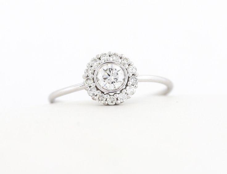 Halo Set Ring, Round Brilliant Cut Diamond Halo Engagement Ring, White/Rose/Yellow Gold Thin Dainty Bezel Set Halo Engagement Ring,Halo Ring by MichaelGabriels on Etsy https://www.etsy.com/listing/226963741/halo-set-ring-round-brilliant-cut
