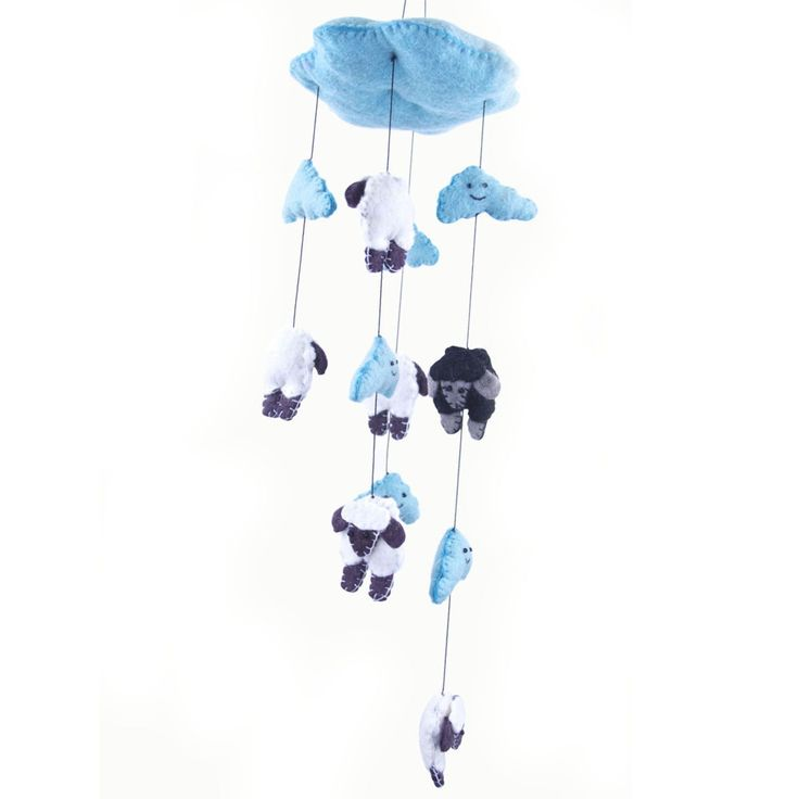 Handmade Blue Felt Counting Sheep Mobile - Global Groove