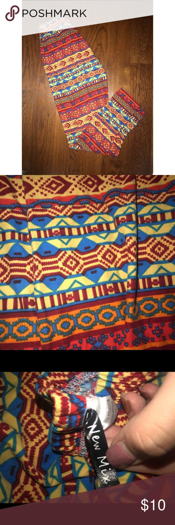 Colorful Tribal Print Leggings Maybe worn once. In great condition and very stretchy. New Mix Pants Leggings