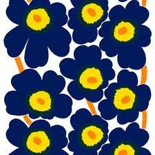 Marimekko Unikko dark blue fabric 60 inch. by MadeBySini on Etsy, $60.00