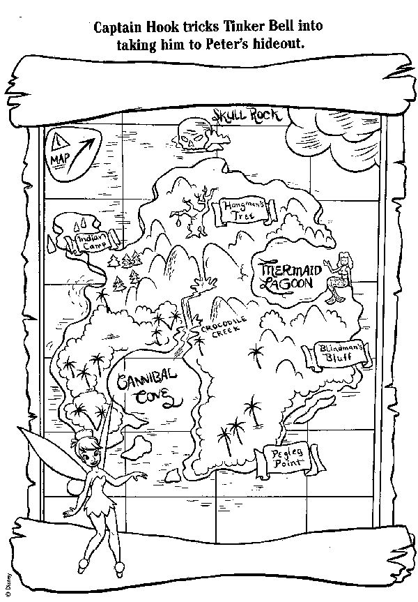 free coloring book pages including peter pan treasure map