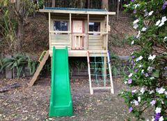 Manor Cubby House. Playground equipment, kids outdoor play equipment, kids playhouse, kids outdoor play gym, kids playground, kids slides, scramble net