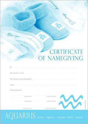 Naming Certificate - Star Sign.