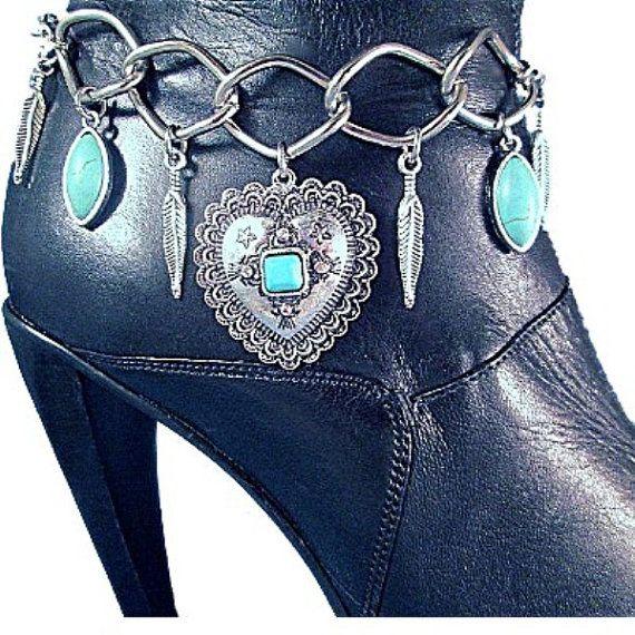 Turquoise Concho hart vleugels veren ketens Boot sieraden Boot armband Boot Bling Western veren riem Biker Motorcycle Lady Rider Fringe