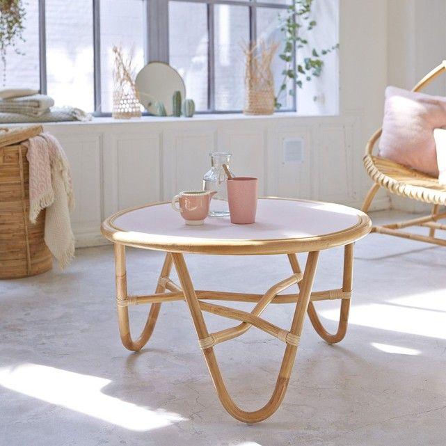 Fauteuil Rotin Et Miroir Assorti Pour Le Salon Clem Atc Blog Deco Table Basse Table Basse Rotin Table De Salon