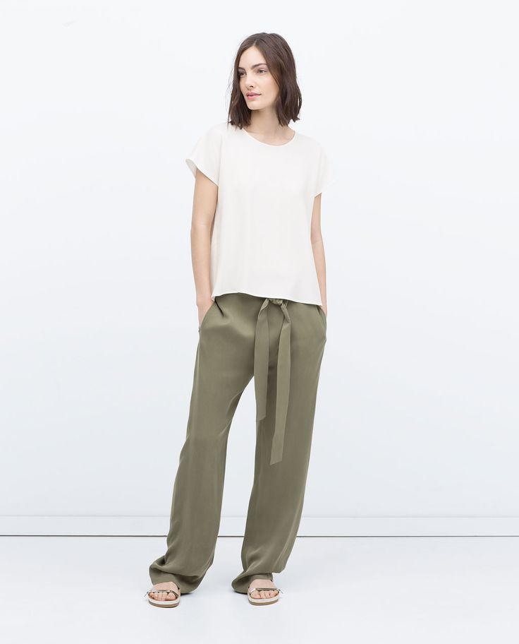 Image 1 of STUDIO TROUSERS WITH BELT from Zara