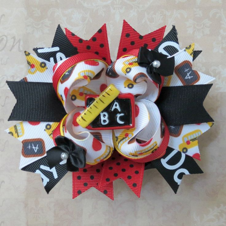 Back to School Hair Bow - Over the Top Stacked Boutique Hair Bow. $9.00, via Etsy. - SO Cute!