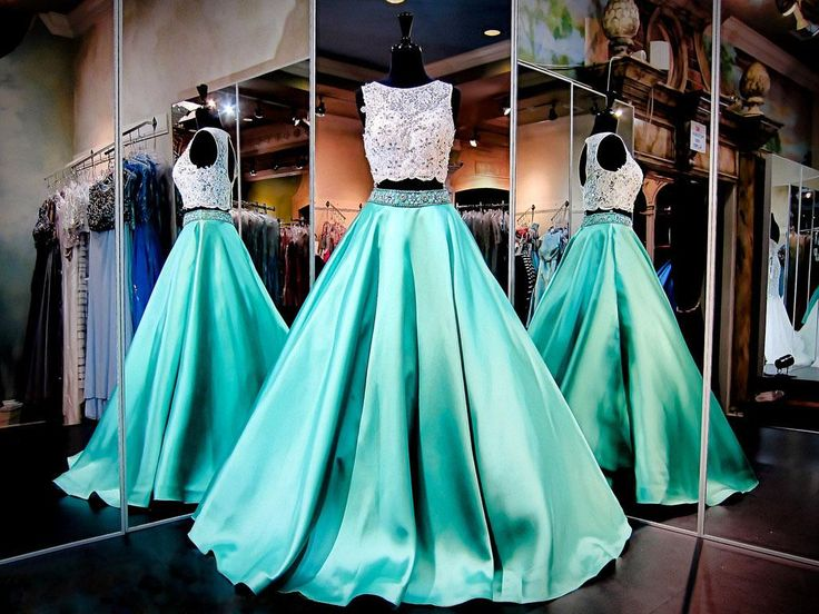White & Mint Two Pieces Ball Gown Prom Pageant Dresses Kr 2016 Jewel Sleeveless Party Evening Gowns Beaded Lace Formal Dress With Pockets Ivory Prom Dresses Knee Length Prom Dresses From Kerenwedding, $146.77| Dhgate.Com