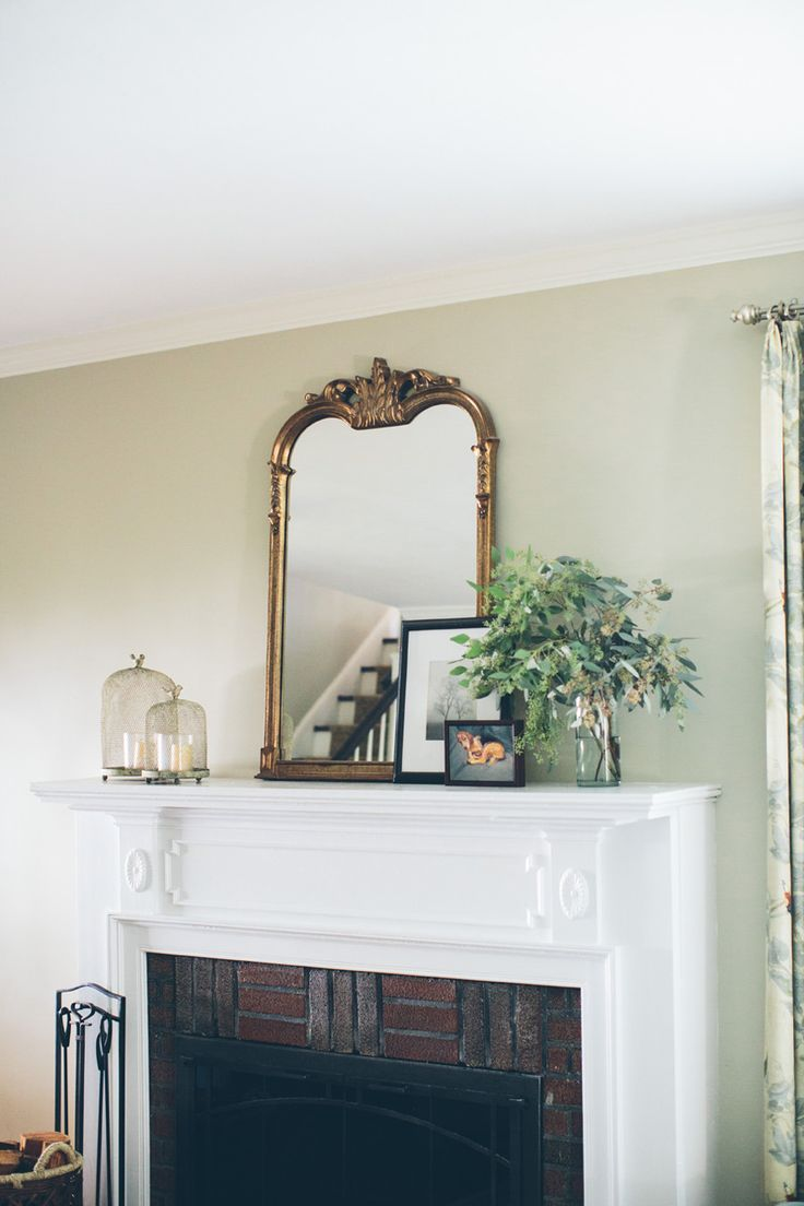 #fireplace, #mantel, #mirror    Read More: http://www.stylemepretty.com/living/2014/10/30/traditional-meets-cozy-home-tour-in-long-island/