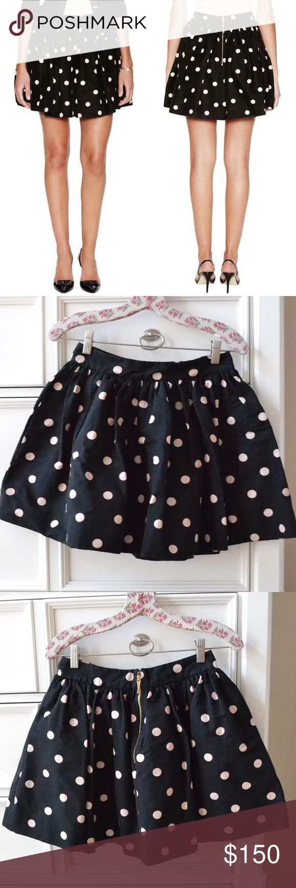 "KATE SPADE Deco Dot Coreen Skirt size 4 $278 Pre-owned, in excellent condition. Bought this from another online seller, but sadly, it is too tight for me! Looking for a size 10 or 12. Designed with a fantastically full silhouette (designers call it the ""cupcake""), the coreen skirt is finished off in delightfully playful polka dots. Made of a luxe silk and cotton blend. Make offers I cannot resist! Please no lowballing, no modeling, and no trades! Thanks for looking! 😊 kate spade Skirts Mini"