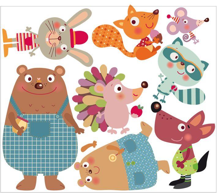 vinilos infantiles decohappy - - vinilo infantil amigos felices del bosque
