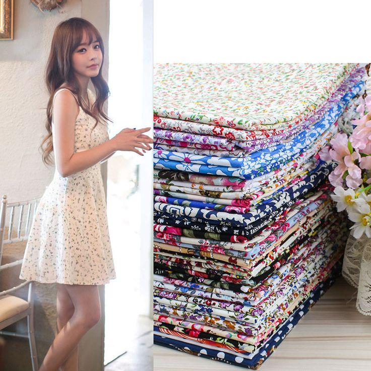Cotton DIY Fabric 40Colors Width:145cm Silk Fabric For Sewing Skirt Curtain Table Cloth Ragdoll Telas Por Metros Tissus Au Metre #Affiliate