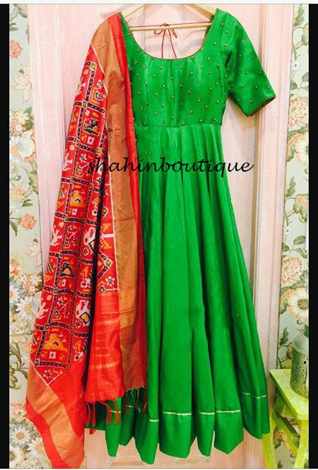 Beautiful and elegant full flare leafy green stitched Anarkali top and Churidar Set with Ikkat dupatta. Top-5.5 metres long Bottom-2.5 metres long Dupatta-2.5 metres The total cost includes price of the raw material,stitching charges and detailed handmade craftsmanship rates. -Can be
