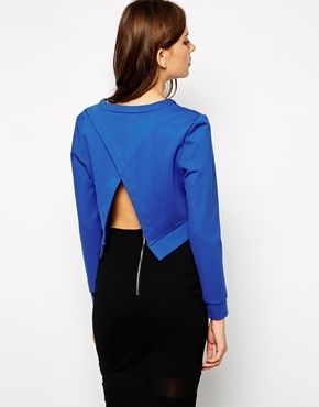Lavish Alice Cropped Sweatshirt with Wrap Back Detail