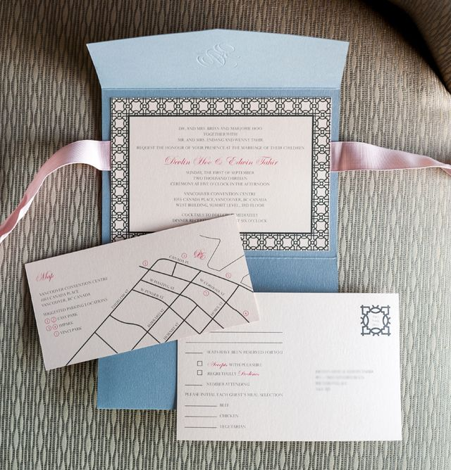 Custom Wedding Stationery : Classic + Elegant Pocket Style : Devlin + Ed : Invitation suite with RSVP postcard and map