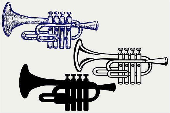 Trumpet SVG DXF by LineworkStock on @creativemarket