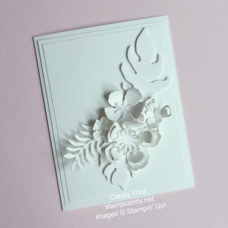 stampcandy.net, Stampin' Up!, Shimmery White Botanicals swap card, Botanical Builder Framelits, Shimmery White card stock, Precision Base Plate, Big Shot Die Brush, handmade card