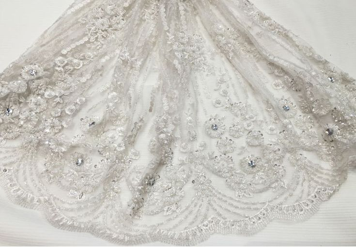 lace fabric, luxury beaded 3D lace fabric, hand beaded high quality lace, french lace fabric, guipure lace fabric, wedding dress fabric by AnnabelleDIY on Etsy