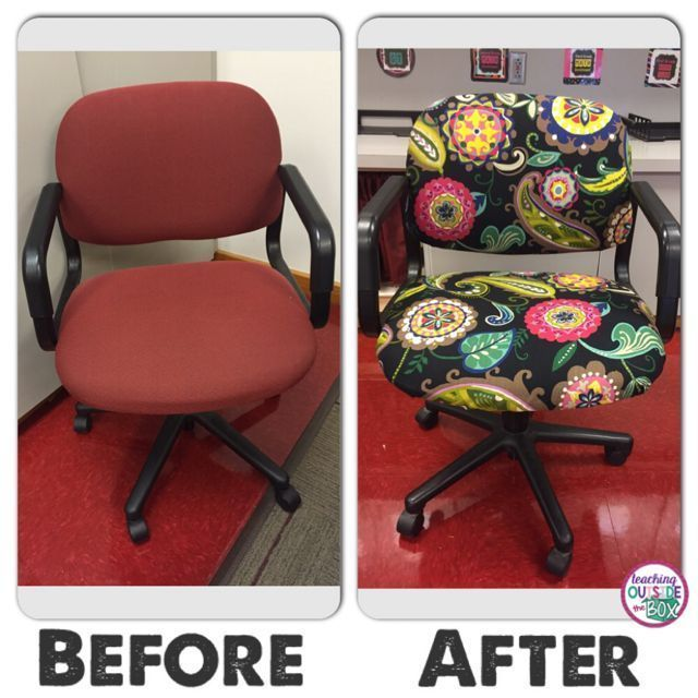 Recover your classroom office chair with a staple gun and safety pins! #teachingoutsidethebox