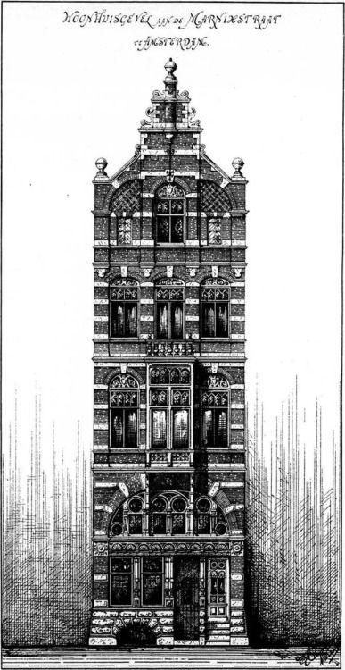 Aanzicht-tekening van een huis in de Marnixstraat door Pierre Cuypers getekend in 1885.