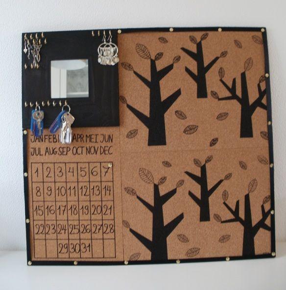 Pin board, perpetual calendar and key/jewellery rack in one.