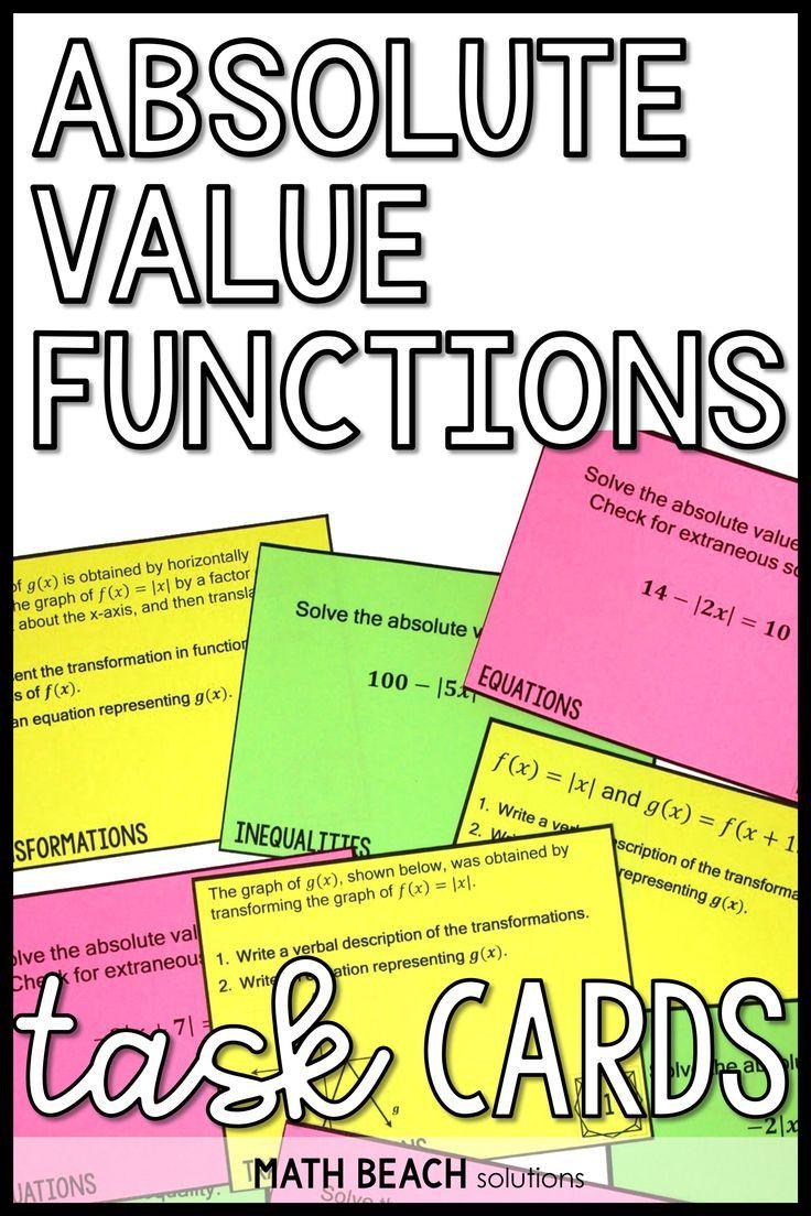 Pin By Maria Montesdeoca On Teaching Fun Algebra Resources Absolute Value Algebra Activities