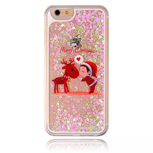 Coque iPhone 6 Plus (5.5), Sunroyal® Transparent Bling Paillette Etui Housse Dual Layer 3D Cœur Liquide Flux Case Cover Hard PC Plastique…