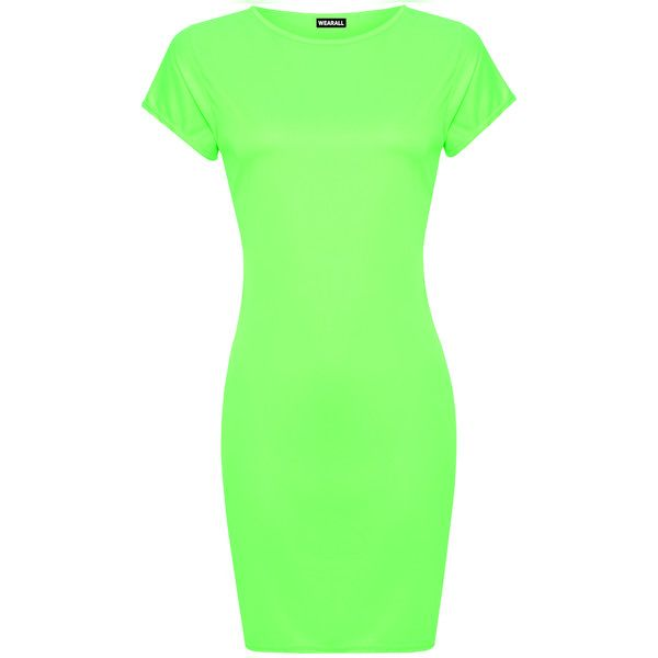 WearAll Plus Size Bodycon T-Shirt Dress ($12) ❤ liked on Polyvore featuring dresses, fluorescent green, women plus size dresses, bodycon dress, neon green dress, green t shirt dress and plus size t shirt dress