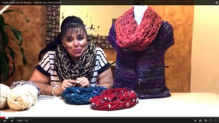 Cuello Tejido con los Brazos - Tejiendo con Laura Cepeda