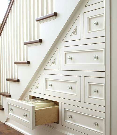 Built in storage drawers - Make use of wasted space under staircase