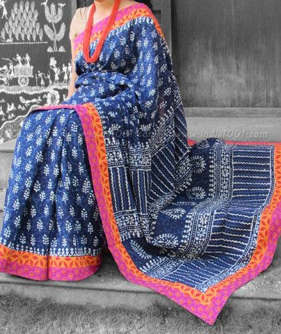 Beautiful Dabu Block Printed Mul Cotton Saree with Stitched borders