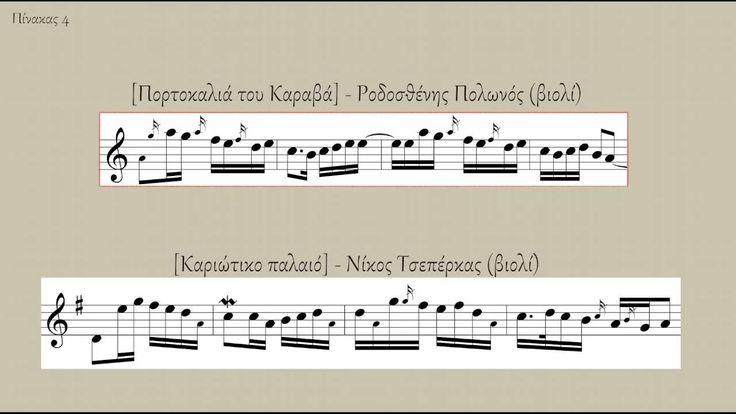 Ικαριώτικος: Πίνακας 4 - Συσχετισμός με το τραγούδι [Πορτοκαλιά του Καραβά] Απόσπασμα από την παρουσίαση της εισήγησης «Ο ικαριώτικος οργανικός σκοπός: Μορφολογική, υφολογική και τροπική ανάλυση μουσικών καταγραφών», Λαμπρογιάννης Πεφάνης - Στέφανος Φευγαλάς, Μουσικολογικό Συνέδριο II, Άγιος Κήρυκος Ικαρίας, 24-26 Ιουνίου 2016