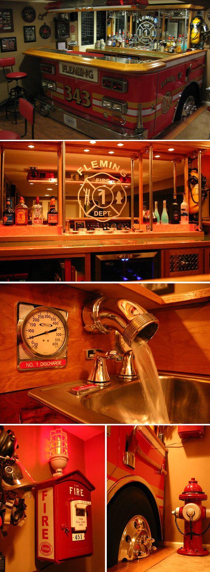 DIY Firefighter Man Cave Inspiration: Fleming Fire Truck Bar | Shared by LION