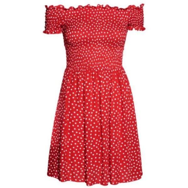 Fabulous Find of the Week H&M Off-Shoulder Dress ❤ liked on Polyvore featuring dresses, polka dot dresses, beach dresses, red off shoulder dress, off shoulder dress and off the shoulder dress