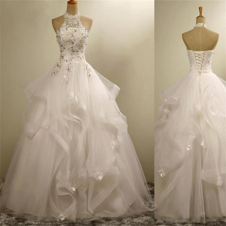High Neck Elegant Gorgeous Charming Lace Appliques Organza Wedding Dresses, WD164