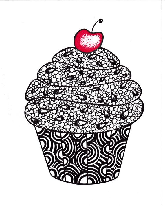 Cupcake Art Print Zentangle Inspired Ink Drawing por JoArtyJo