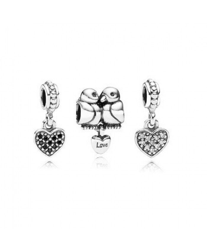 363cfde7766 ... Authentic Pandora Birds Of A Feather Charm Set With Pave Cubic Zirconia  Clearance Deals .