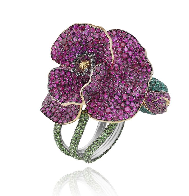 Flower Ring in platinum, set with rubies, tsavorites, emeralds and coloured diamonds, part of Chopard's Haute Joaillerie 2013 Red Carpet Collection.