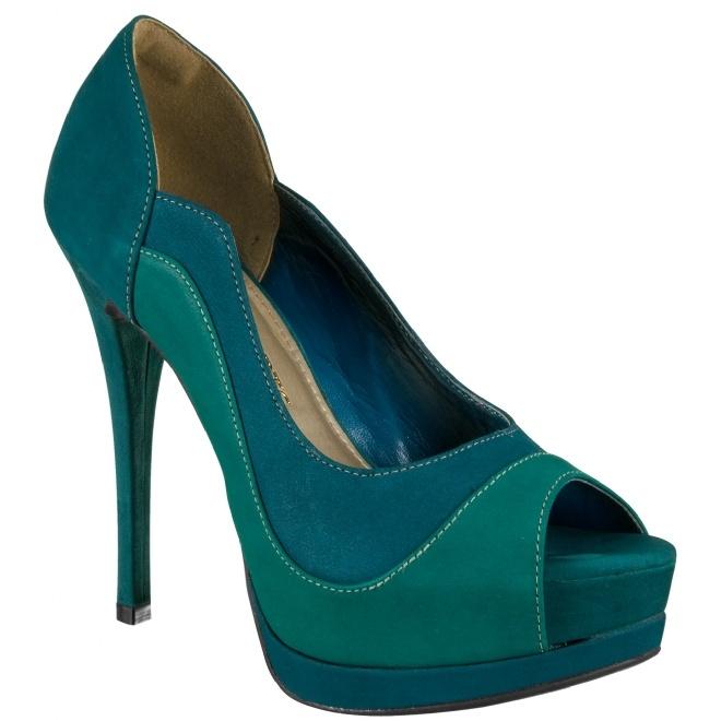 Peep Toe Petróleo com verde esmeralda !!!