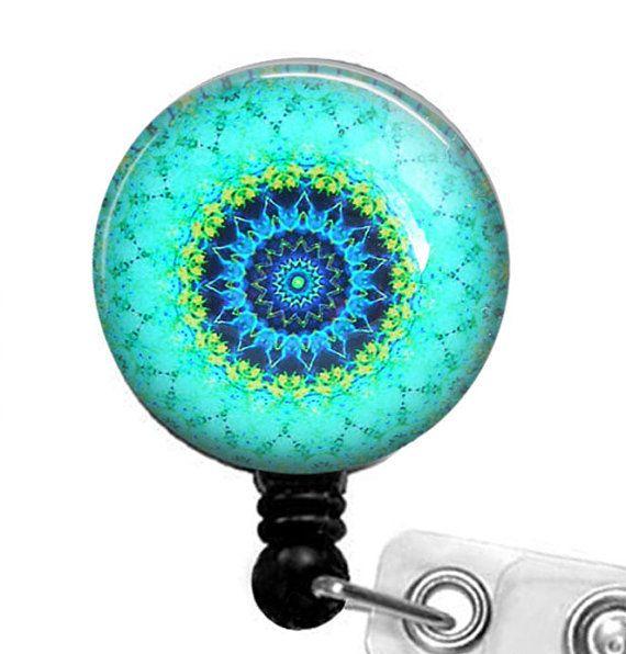 Bleu vert Mandala ID Badge porte  Badge magnétique ou clip