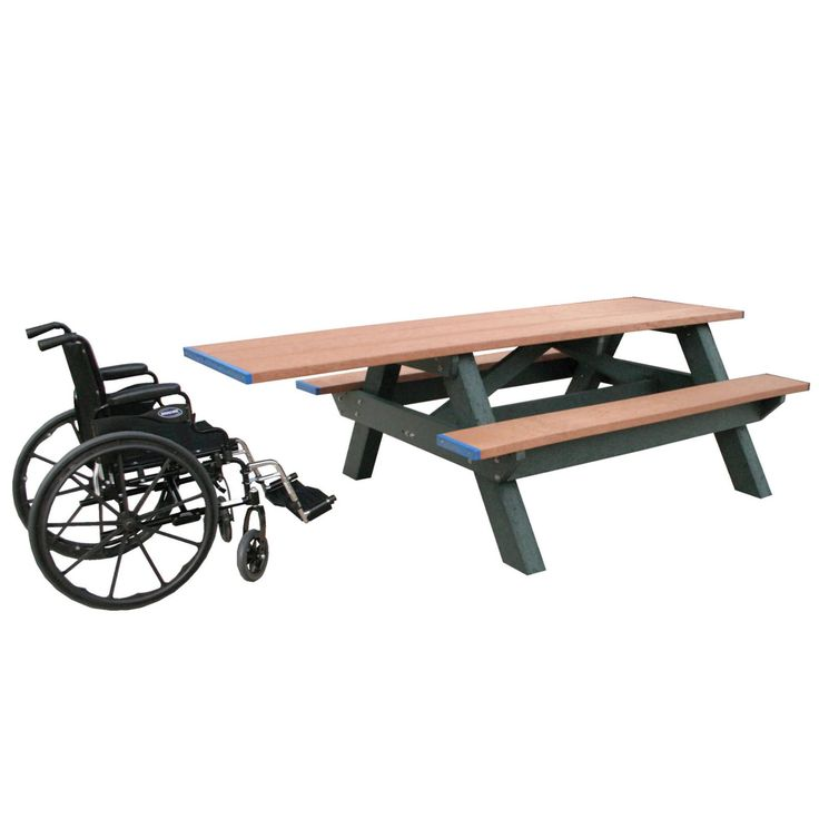 Outdoor Polly Products Standard Recycled Plastic Picnic Table - Single ADA Entry - ASM-SPTHA-02-BLACK FRAME-BLACK TOP