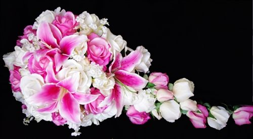 Natural Touch Off White Roses and Pink Stargazers Cascade Bouquet