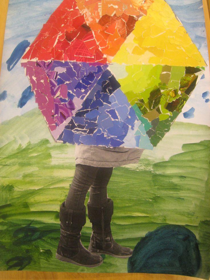 Sateenvarjon alla: -väriympyrä mosaiikkityö, värit etsitty aikakausilehdestä -varjon alla omat jalat kaverin valokuvaamana -sateinen maisema vesivärein