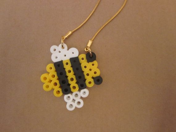 Bee perler bead pendant on a goldfilled necklace by NOGstore