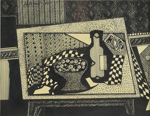 Composición con frutera y botella (1921) Emilio Pettoruti