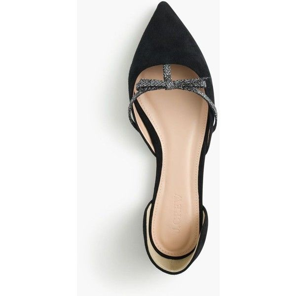 J.Crew Sloan suede d'Orsay flats with mini bow ($158) ❤ liked on Polyvore featuring shoes, flats, wedge heel shoes, ballet shoes, ballerina flat shoes, ballet pumps and espadrilles shoes