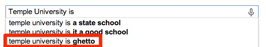 Temple University is ghetto. | Here Is What Google Says About Your College