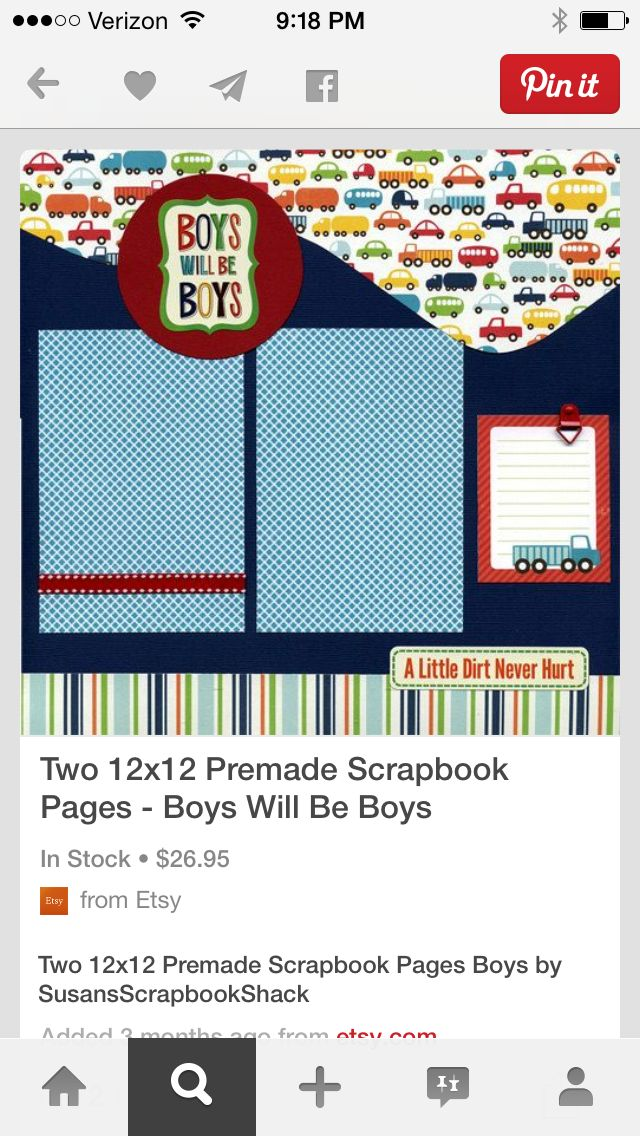 Boys will be boys single page two premade scrapbook pages boys by susansscrapbookshack